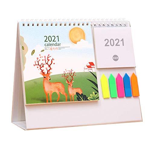 Calendarios de Mesa Chinos Año Nuevo 2021 Calendario 2021 Pared Luna para el Año Lunar del Buey,21.5x8x18cm,Patrón de Ciervos de Dibujos Animados Calendaeio Mesa para Los Favores de La Fiesta Del Año