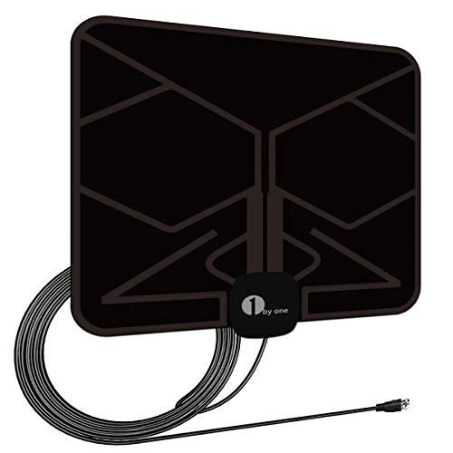 1byone Ultra plana antena TV TDT interior DVB-T DVB-T2, Mayor rango de recepción de 40 KM, con materiales de alta calidad, 4 metros de cables de alto rendimiento, duraderos y resistentes, Negro