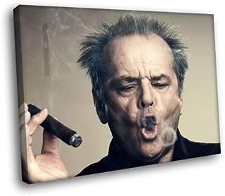H5D6664 Jack Nicholson Cigar Smoke Ring Legendary Actor 20x16 FRAMED CANVAS PRINT