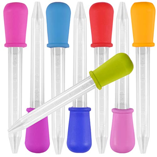 8 pezzi Contagocce liquido, Silicone Yidaxing e Pipette in Plastica con Trasferimento di Contagocce con Punta di Pera per Olio di Caramelle Cucina per Bambini con Gommapiuma - 8 Colori