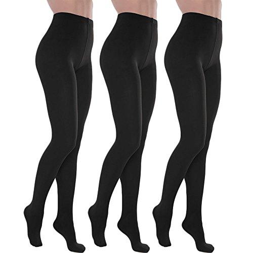 Toocool - Stock 3 pezzi calzamaglia donna calze collant termiche felpate nuove S-D6606 [Taglia unica,nero]