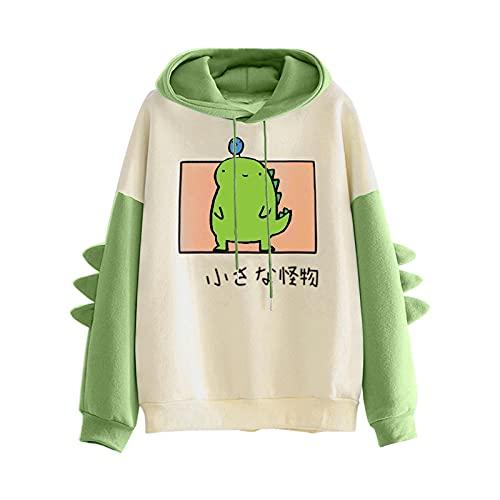 CCOOfhhc Sudadera con capucha para mujer y niña, diseño de dinosaurio Kawaii con capucha de animal, de manga larga, para otoño e invierno, Verde H, M