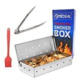AMT Deal Smoker Box for Grill, Tongs and Brush Set-Thick Heavy-Duty Stainless Steel BBQ Accessories.Great Tools for Gas Charcoal Grilling - BBQ Smoker Box for Gas Grill with Extra Free Recipes eBook.