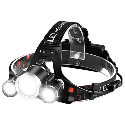 Rechargeable Headlamp 6000 Lumens LED Headlight Head Lamp Flashlight IPX6 Rainproof Super Bright Camping Cycling Fishing Hunting Hiking for Adults (3 LED Motion Sensor)