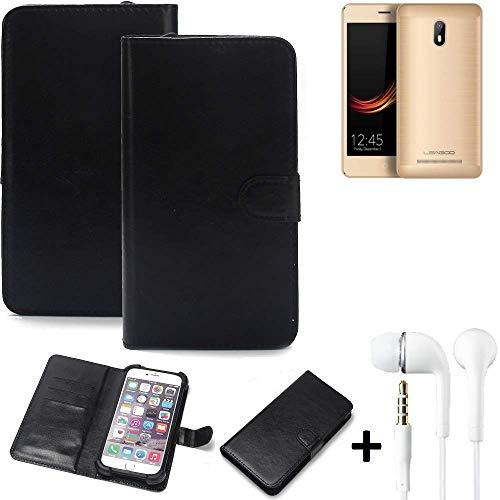 K-S-Trade® Wallet Case Handy Hülle Für Leagoo Z6 Schutz Hülle Smartphone Flip Cover Flipstyle Tasche Schutzhülle Flipcover Slim Bumper Schwarz + In Ear Headphones