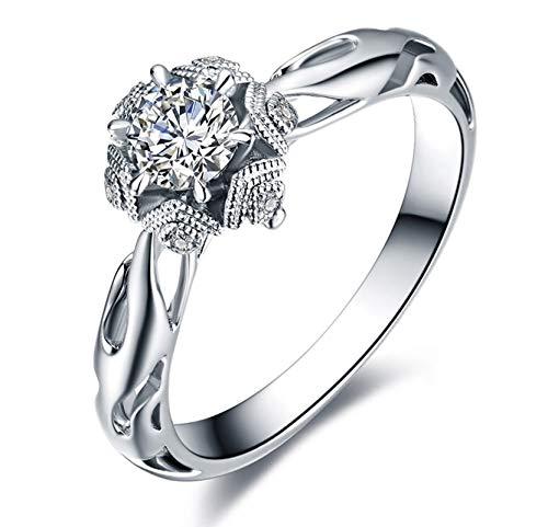 Ubestlove Ewigkeitsring Weißgold Schneeflocke Hohl Rotgold Ring Verlobung 0.5Ct Diamant Ringe Größe 50