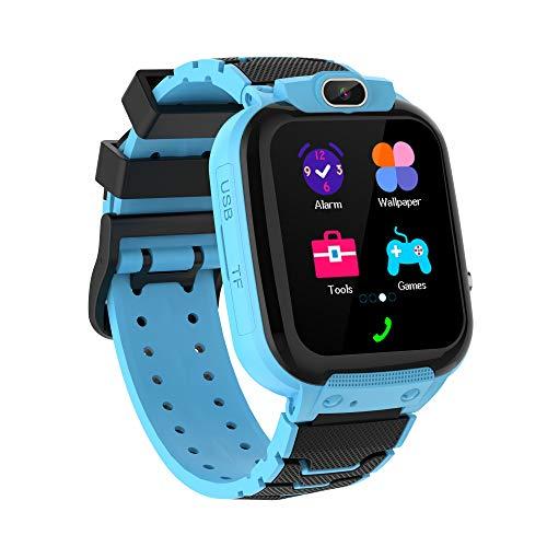 Zeerkeer Reloj Inteligente Niños,Música Smartwatch para Niños Niña Game Watch Relojes Smart Realiza Llamadas Mensajes de Voz Reloj de Cámara Alarma (Azul)