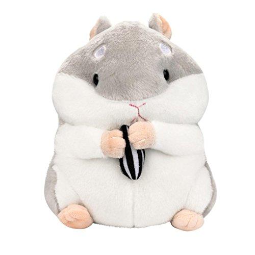 Gusspower Plüsch Hamster, 23cm entzückende Kawaii Fluffy Hamster weichem Plüsch Spielzeug Puppe niedlich gefüllte Spielzeug Geschenke Kindertag (Grau)