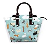 Womens Pu Leather Rivet Shoulder Bag Raining Cats & Dogs Printed Tote Bag Handbags Purse