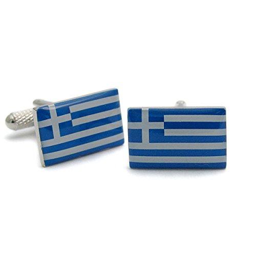 Boutons de manchette Homme Fantaisie – Grèce Grec drapeau