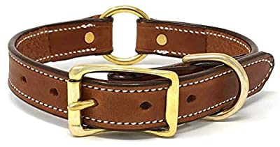 London Tan Leather Dog Collar with Heavy Duty Center Ring and Genuine Leather   Adjustable Dog Collar with Durable Metal Buckle and D Ring for Small/Medium Dogs or Large Breed Puppy (London Tan, Size)