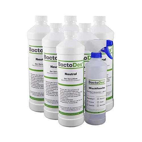 BactoDes Neutral Geruchsneutralisierer, Geruchsentferner, Geruchskiller Reiniger, Urin, Katzenurin, 6 x 1 Liter Spray