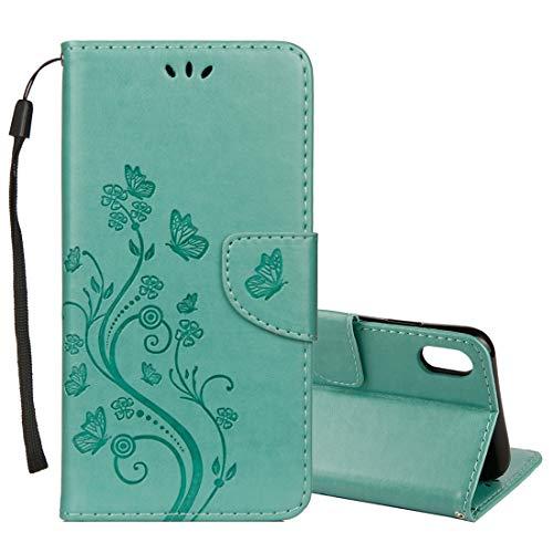SGJFZD Funda protectora de piel para iPhone XR Business horizontal con diseño de flores y ranuras (tamaño Ip9g0039g)