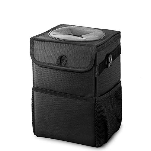 Auesny Upgraded Car Trash Can with Lid and 3 Storage Pockets, with 2 hook,100% Leak-Proof Car Organizer, Waterproof Car Garbage Can, ,Multipurpose Trash Bin for Car -Auto Car Trash Bag Black 2.4 Gallons
