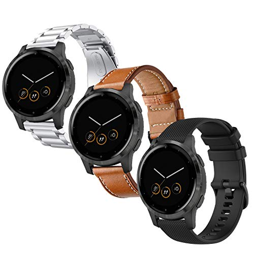Anrir Compatible for Garmin Vivoactive 4S Watch Band, 18mm Stainless Steel Band+Leather Band+Silicone Band Black for Garmin Vivomove 3S 39mm, Fossil Q Venture Gen 4 HR/Gen 3 Smart Watch-3 Pack
