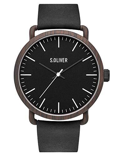 s.Oliver Herren Analog Quarz Uhr mit Leder Armband SO-3752-LQ