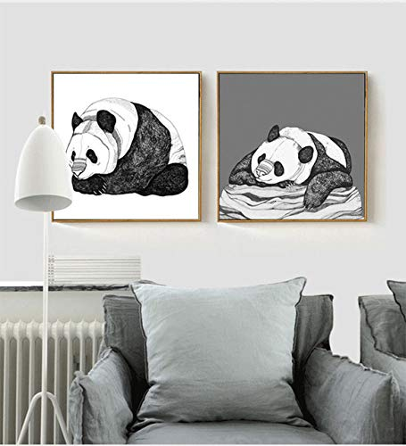 N / A Simple Painting Panda Theme Hotel Foyer Painting Bedroom Living Room Painting Poster Frameless 60x60cm