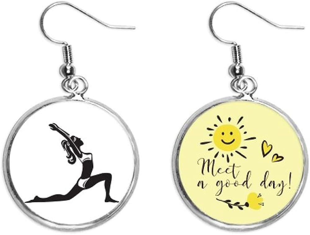 Yoga Keep Healthy Stretching Outline Award-winning High quality store Drop Flower Ear Earring Sun