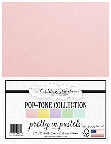 Pretty in Pastels - Multi-Pack Assortment - 8.5 x 11 inch 65 lb Cover Cardstock - 50 Sheets from Cardstock Warehouse
