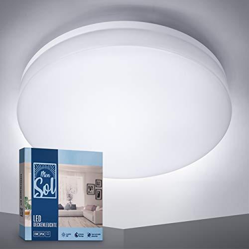 MenSol – Premium LED Deckenleuchte rund 15W – IP54 spritzwassergeschützt – [1350lm/3000K] Deckenleuchte Warmweiß – Ø22cm Badlampe [Energieklasse A+]