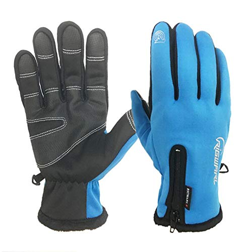 RIGWARL Cycling Gloves for Men,Winter Touch Screen Gloves with Waterproof and Windproof-Non-Slip Silicone Gel and Hand Warmers for Mens' Cycling and Running(Blue)