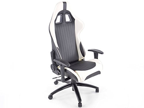 FK-Automotive bureaustoel sportstoel Dover met armleuningen kunstleer wit/zwart
