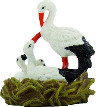 Unbekannt Miniaturfiguren Puppenhaus Zubehör Storch im Nest Höhe 5cm geeignet für 11-12cm Figuren