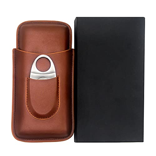 Copoki Classic 3 Fingers Cigar Case Cedar, Cedar Wood Lined Cigar Humidor with Silver Stainless Steel Cigar Cutter Lined Portable Travel