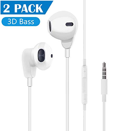 【2Pack】 Aux Headphones/Earphones/Earbuds 3.5mm Wired Headphones...