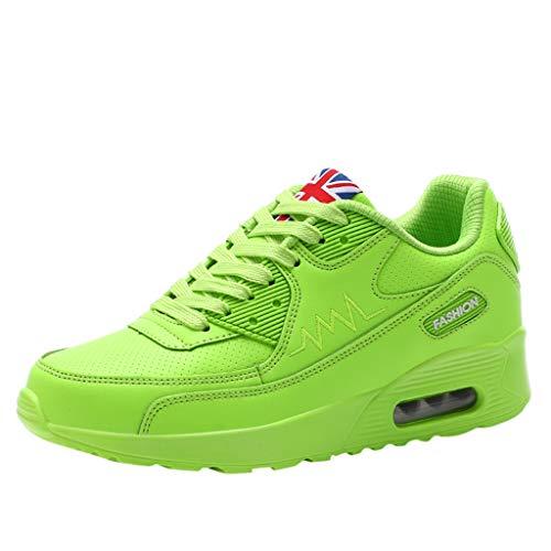 Luckhome Damen Sneaker Damen Damenschuhe Sneaker Sneakers Fitness Laufband Socken Damenmode lässig schnüren atmungsaktiv Sport Running Platform Sneakers Schuhe(Grün,EU:35)