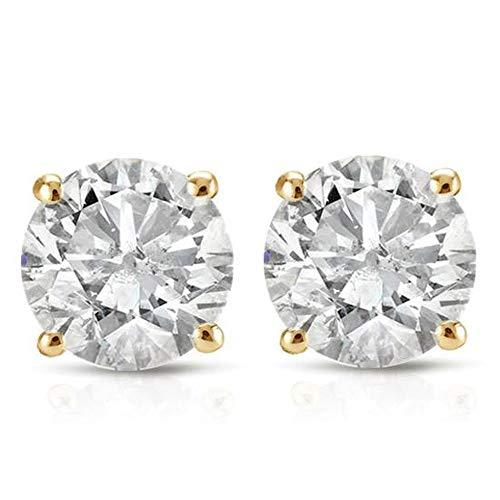 1ct Diamond Studs 14K Yellow Gold IGI Certified
