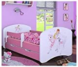Naka24 Cama infantil con colchón y cajón, para niñas, color rosa (160 x 80...