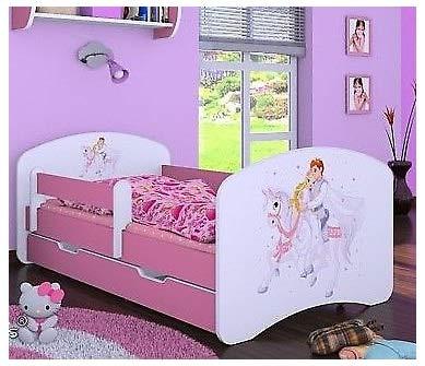 Naka24 Cama infantil con colchón y cajón, para niñas, color rosa (160 x 80 cm, príncipe sobre caballo)