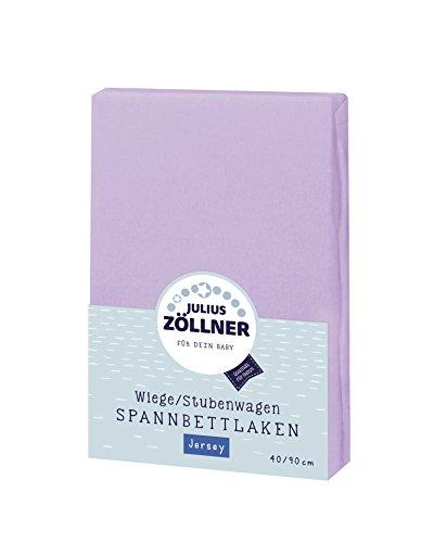 Julius Zöllner 8330147400 Jersey Spannbetttuch für Wiegen 90x40 und Stubenwagen, Farbe: flieder