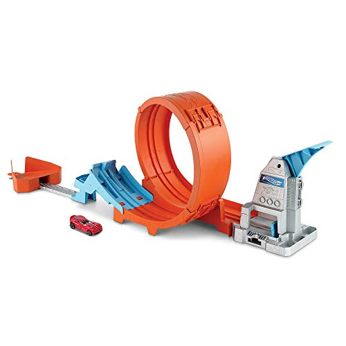Hot Wheels -Pista Acrobazie nel Loop con Lanciatore Doppio, Rampa a Molla e Macchinina, Giocattolo per Bambini 4+ Anni, GTV13