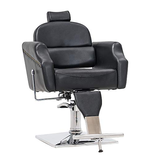 BarberPub Classic Recliner Barber Chair Antique Heavy Duty Hair Spa Salon Styling Beauty Equipment 3125