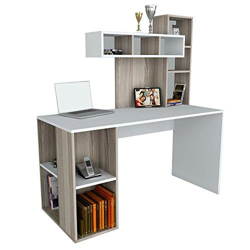 Alphamoebel 1193 Coral Schreibtisch Computertisch Arbeitstisch Bürotisch Laptoptisch PC-Tisch, Weiß Cordoba, Holz, integriertes Regalelement, viel Stauraum, große Arbeitsfläche, 140 x 60 x 153,8 cm