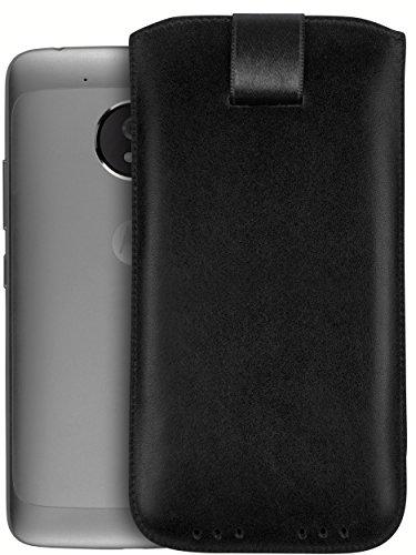 mumbi Echt Ledertasche kompatibel mit Lenovo Moto G5 Hülle Leder Tasche Case Wallet, schwarz
