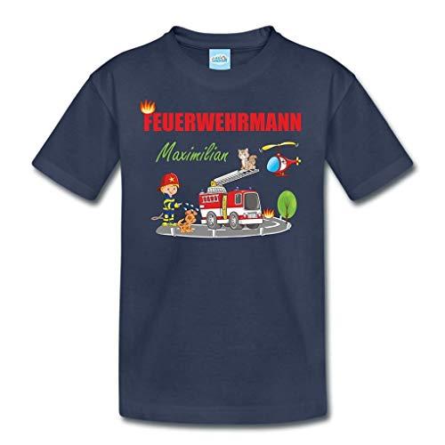 T-Shirt mit eigenem Namen für Babys Kleinkinder Kinder Kindergarten Schulkind Kindershirt Sommershirt Feuerwehr Feuerwehrmann (96-104)