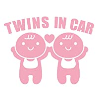 imoninn TWINS in car ステッカー 【パッケージ版】 双子さん (ピンク色)