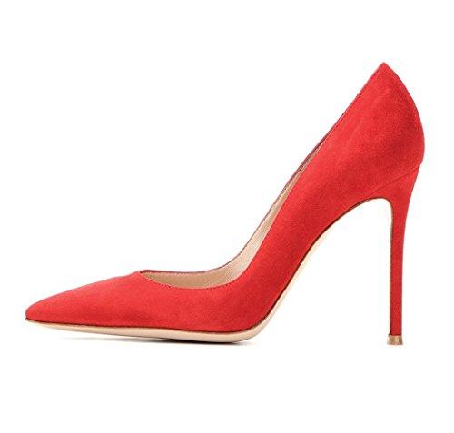 EDEFS Klassische Damen Pumps | Moderne Damen High Heels | Stiletto Schuhe | Damen Geschlossene Pumps Rot Größe EU43