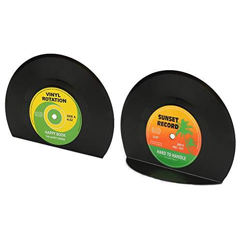 yidenguk 2 piezas sujetalibros con forma de disco, libro de discos de vinilo vintage, sujetalibros de CD, regalo de plástico creativo Mini estantería
