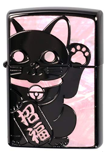 【ZIPPO】 ジッポーライター オイル ライター 招き猫 SHELL(貝貼り) シェル 福を呼ぶ招福 ラッキーキャット 両面加工BK