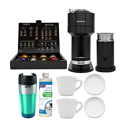 Nespresso Vertuo Next Coffee and Espresso Machine (Classic Black) with 2 Cup and Saucer Sets, Descaling Liquid and Tumbler Bundle (5 Items)
