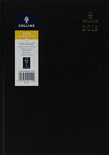 Collins 47-czarne biurko A4 2019 dwa strony dziennik