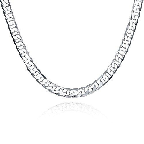 ENYU Cadena para Hombre, Collar Joyería Figaro Eslabones Acero Inoxidable con Chapado en plata, Largo 50 CM, 8 mm Ancho