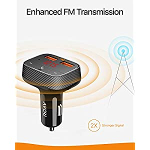 Bluetooth FM Transmitter for Car, Audio Adapter and Receiver, Hands-Free Calling, MP3 Car Charger with 2 USB Ports, PowerIQ, and AUX Output (No Dedicated App)
