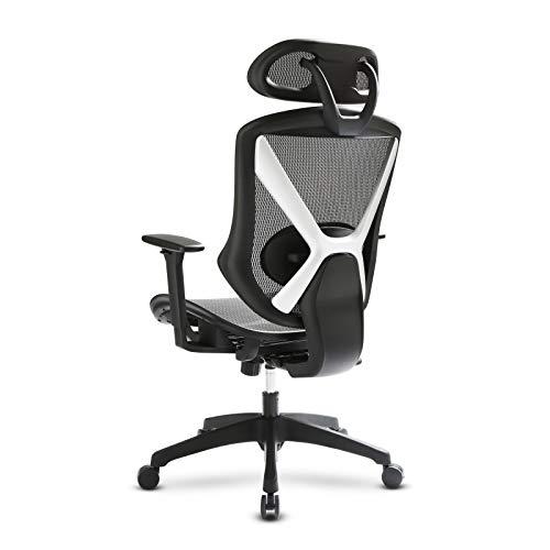 IntimaTe WM Heart Höhenverstellbarer Bürostuhl, Ergonomischer Stuhl mit Höhenverstellbaren Armlehnen und Kopfstützen, Atmungsaktives Rücklehne und Sitzkissen, Schwarz