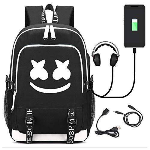 TEHWDE Rugzak Marshmellow Fashion 35L Schooltas met USB Opladen Port Audio Line en Password Lock Unisex Primaire Rugzak met Geborduurde Sleutelhanger Hanger