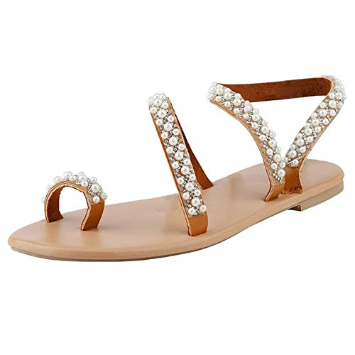 GHMPNLG Sandalias para mujer, sandalias de boda, sandalias de novia, tiene bonito cristal y perla, puede combinar con tus diferentes prendas de vestir, color resistente y elegante, para mujer